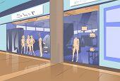 image of shopping center  - Shopping Window Modern Luxury Shop in Mall Center Vector Illustration - JPG
