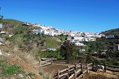 picture of arena  - View of village with horse and stables in foreground Arenas Malaga Province Andalusia Spain Western Europe - JPG