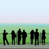 image of observed  - Silhouettes of people standing on the observation deck and looking at the mountains vector - JPG