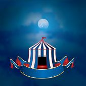 stock photo of moonlight  - vector flying circus on moonlight with blank banner - JPG