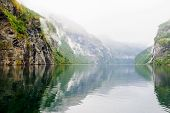 stock photo of fjord  - Scenic View of the Geiranger fjord Norway - JPG