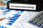 stock photo of entrepreneurship  - Folder with the label entrepreneurship and charts - JPG