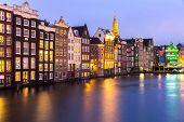pic of nicholas  - Amsterdam Canals and Saint Nicholas church at dusk Natherlands - JPG