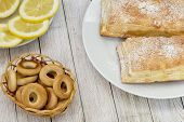 stock photo of bagel  - Bagels on the table with fresh pastries - JPG