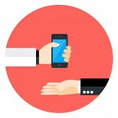 pic of helping others  - Two Business Man Hands with Phone Circle Icon - JPG