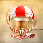 image of awning  - Cup of coffee with coffee stain - JPG