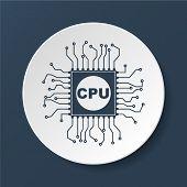 stock photo of circuits  - Circuit board icon - JPG