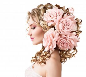 image of perm  - Beauty girl with rose flowers hairstyle isolated on white background - JPG