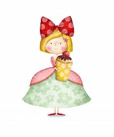 pic of invitation  - Cute small girl with cupcake Childish card in sweet colors - JPG
