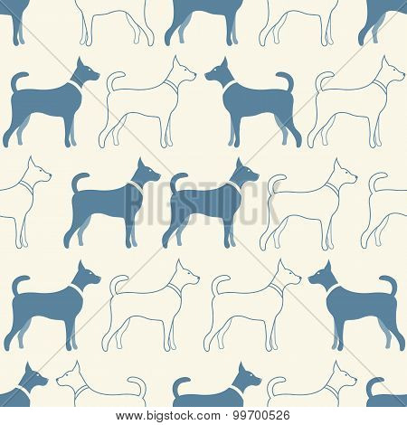 Cute doodle seamless  pattern of dog silhouettes
