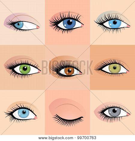 Set of female eyes images with beautifully fashion make up.