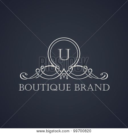 Vintage luxury emblem. Elegant Calligraphic pattern on vector logo. Black and white monogram U