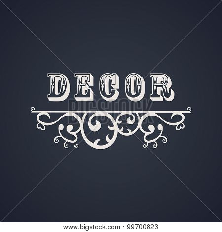 Vintage luxury emblem. Elegant Calligraphic pattern on vector logo. Black and white monogram