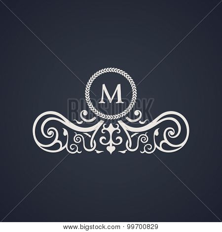 Vintage luxury emblem. Elegant Calligraphic pattern on vector logo. Black and white monogram M