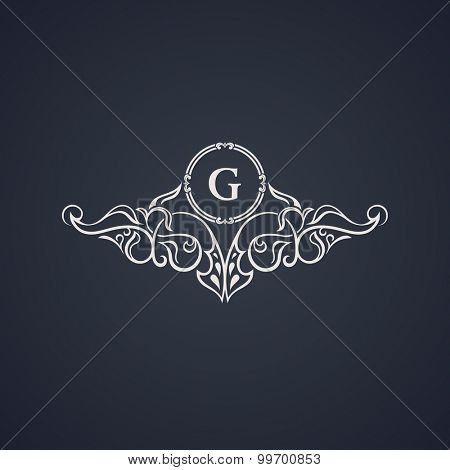 Vintage luxury emblem. Elegant Calligraphic pattern on vector logo. Black and white monogram G