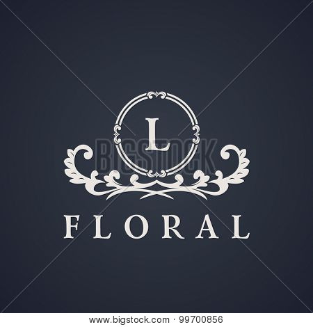 Vintage luxury emblem. Elegant Calligraphic pattern on vector logo. Black and white monogram L
