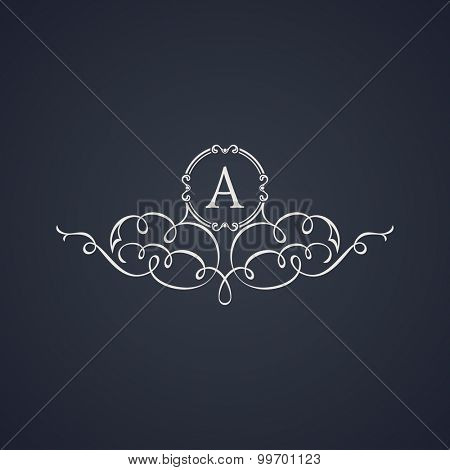 Vintage luxury emblem. Elegant Calligraphic pattern on vector logo. Black and white monogram A