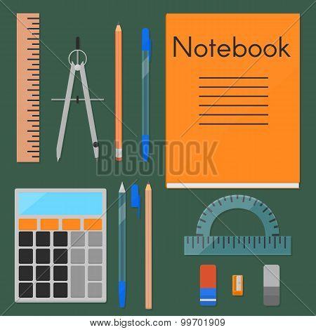 School supplies, flat set