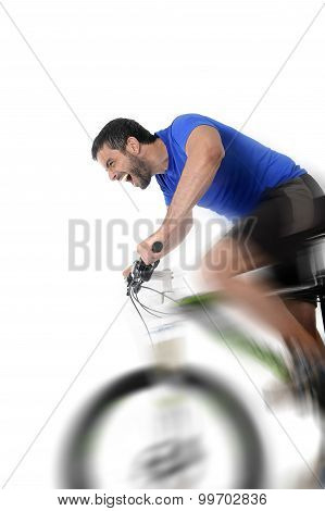 Young Sport Man Riding Mountain Bike Training Hard On Sprint In Fitness And Competition Concept