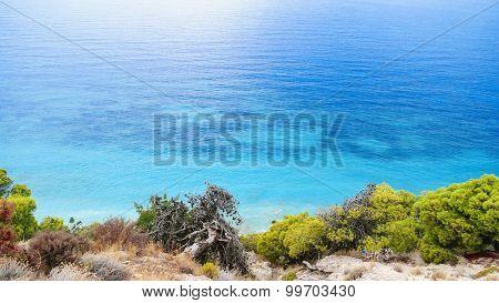View Of Beautiful Beach With Rock Cliffs On Kefalonia Island, Greece