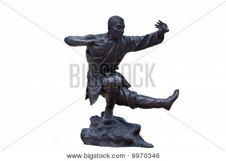 Shaolin Warriors Monk  Statue On White Background