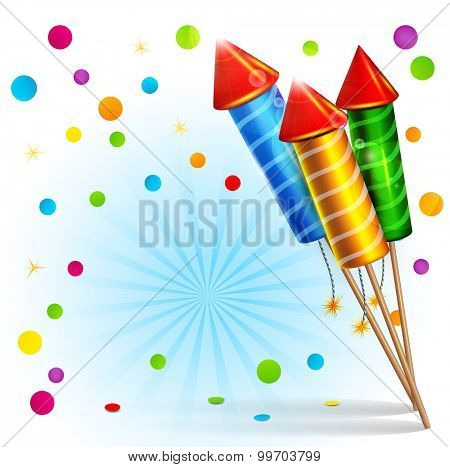 festive background with firecrackers and confetti