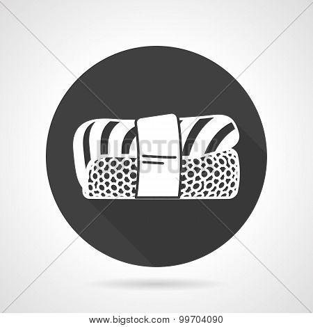 Nigiri sushi black vector icon.
