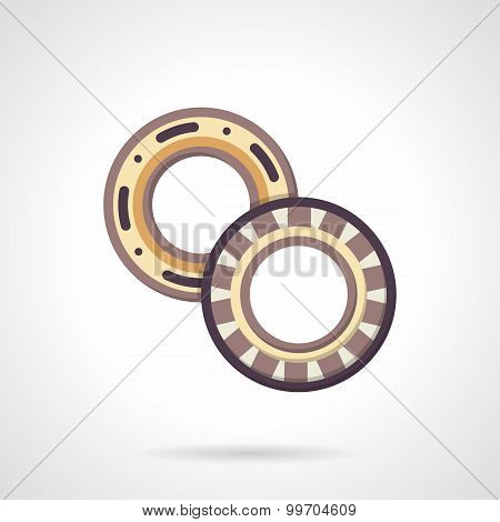 Mechanical bearings flat vector icon.