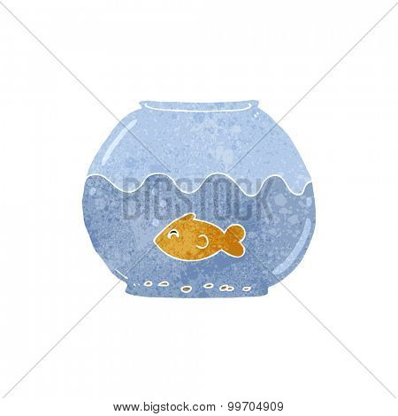 retro cartoon fish in bowl