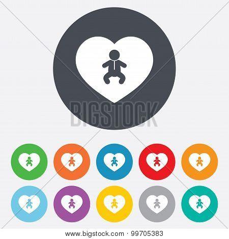 Love Baby infant icon. Toddler boy symbol.