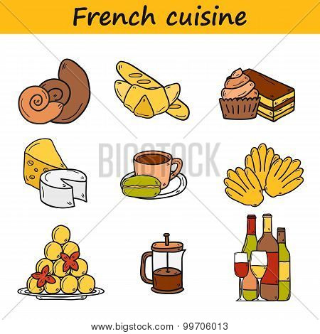 Set of cartoon cute hand drawn icons on french cuisine theme: cheese, wine, macaroon, criossant, pas