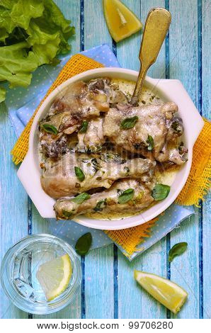 Chicken Braised In Sour Cream With Herbs.