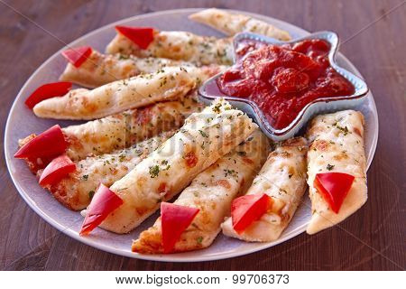 Cheesy Breadsticks Witch Fingers