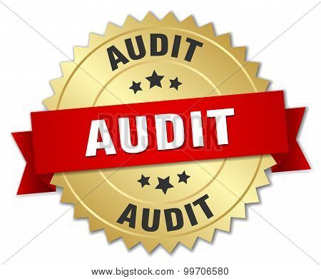 Audit 3D Gold Badge With Red Ribbon