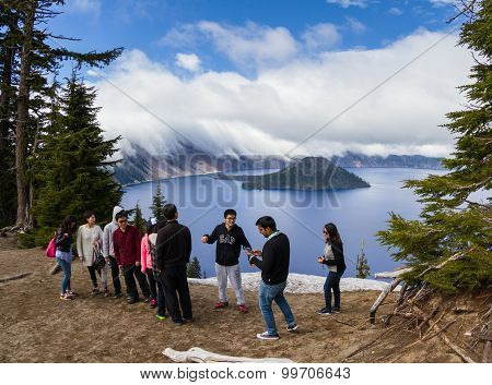 Tourists In Crater Lake