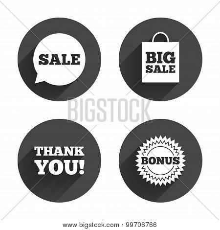 Sale speech bubble icon. Thank you symbol