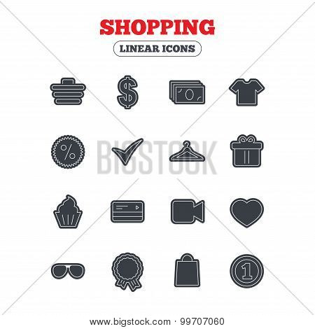 Shopping icons. Shirt, gift box and currency.