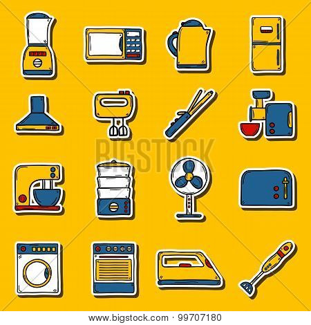 Set of stickers in hand drawn cartoon style on home appliance theme: fridge, kettle, microwave, stea