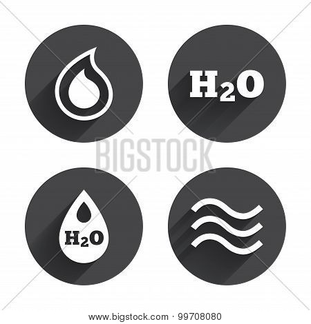 H2O Water drop icons. Tear or Oil symbols.