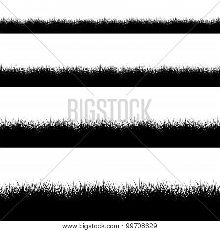 Vector modern black grass silhouette set