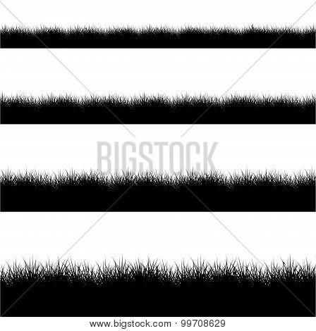 Vector modern black grass silhouette set