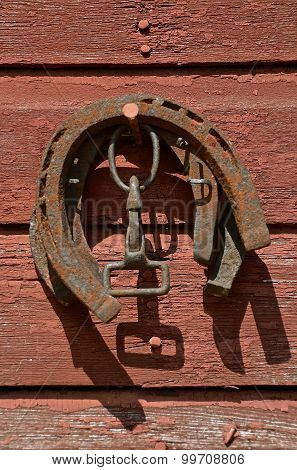 Rusty old horse shoes