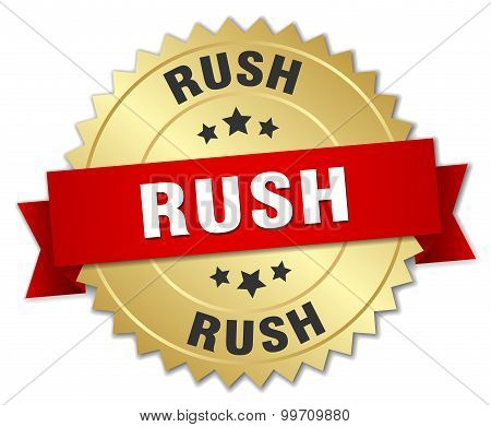Rush 3D Gold Badge With Red Ribbon