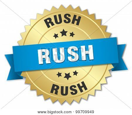 Rush 3D Gold Badge With Blue Ribbon
