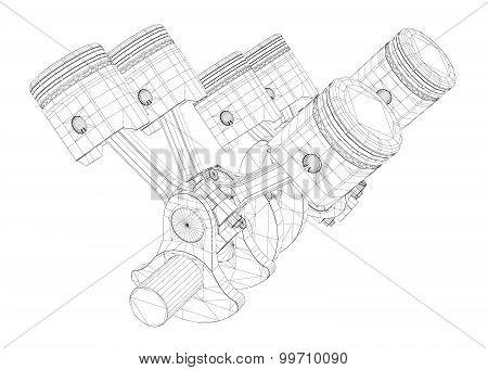 Pistons, V8 engine