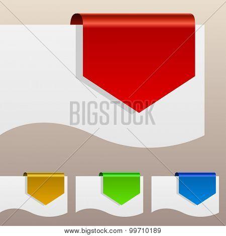 Red discount labels bent around paper edge.