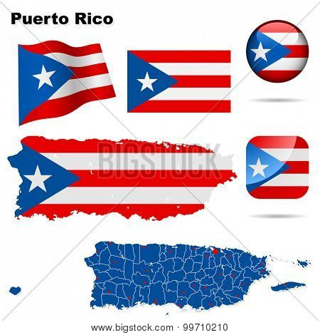 Puerto Rico set. Detailed country shape with region borders, flags and icons isolated on white background.