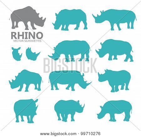Vector rhino silhouettes
