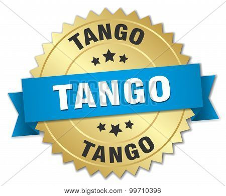Tango 3D Gold Badge With Blue Ribbon