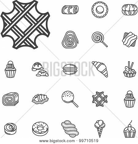 Simple line confectionery vector icons